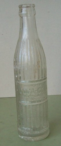 Vintage  Coca Cola Bottle  Block Print  Fluted Sides   7 oz.