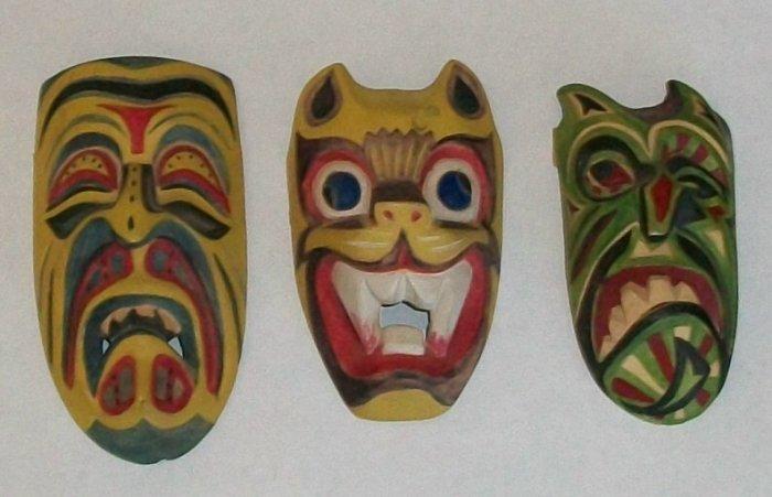 3 Wall Ceremonial Masks   Handpainted Wood