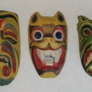3 Wall Ceremonial Masks   Handpainted Wood