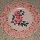 Pink Wood Folk Art Plate with Roses   Jeanelle  Painting
