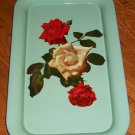 Vintage Metal /Tin Snack / Serving Tray - Red &White Rose