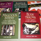 5 Mystery Writing Books  - Rip-Off Body Trauma, Malicious Intent, Amateur Detectives, Give em What