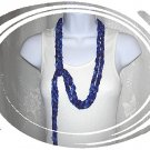 Fiber Necklace, Chain Rope Lariat Style in Ocean Shades Ribbon, Hand Crocheted