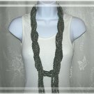 Fiber Necklace, Lariat Style Chain Rope in Sage Colored Faux Suede, Hand Crocheted