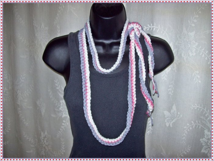Fiber Necklace, Tri-Color Flat Rope Lariat Style in White, Rose and Grey, Hand Crocheted