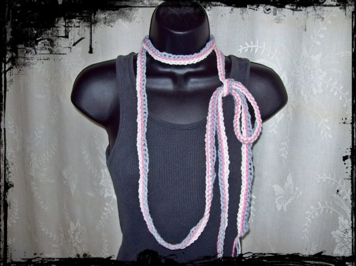 Fiber Necklace, Triple Chain Lariat Style in White, Rose and Grey, Hand Crocheted