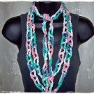 Fiber Necklace, Crazy Chain Link Lariat Style in Rose, Green, Blue and White Multi, Hand Crocheted