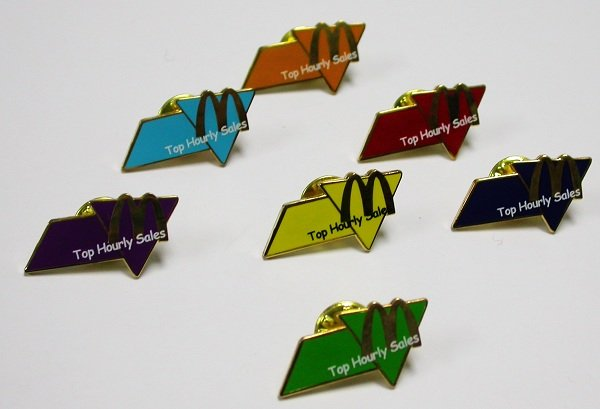 A Complete Set of 2005 McDonald's McDonalds 7 COLOR FLAGS PINS SET