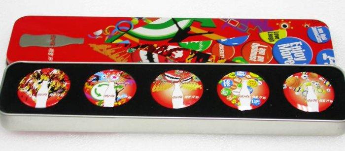 A Set of 2008 Coca-Cola 5 Bright Coke Pins With Tin Box
