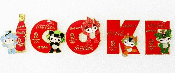 Coca-Cola Beijing 2008 Olympic Mascots 5 FuWa Coke Pins