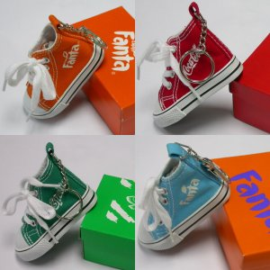2000 Coca-Cola 4 Coke Fanta Sprite Advertising Key Chain Of Orange Little Shoe With Box