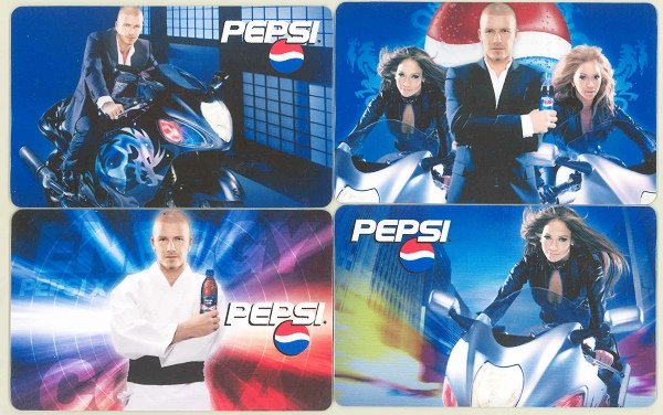 BECKHAM PEPSI 4 ADVERTISING POCKET TRADING CARDS
