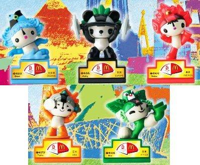 McDonalds Toy Beijing 2008 Olympics Mascot 5 FuWa Dolls Seals