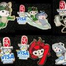 2008 BEIJING OLYMPIC SPONSOR VISA MASCOTS 6 FUWA PINS SET