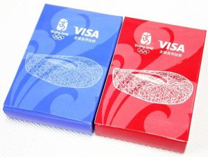 BEIJING 2008 OLYMPIC MASCOTS FUWA VISA 2 PLAYING CARDS
