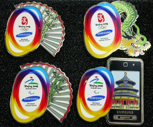 BEIJING 2008 OLYMPIC AND PARALYMPIC GAMES SPONSOR SAMSUNG 4 PINS SET