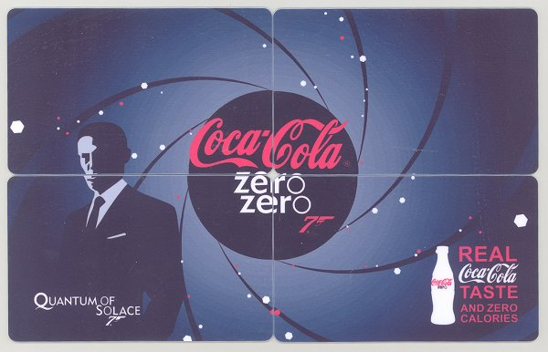 2009 ZERO COCA COLA 007 JAMES BOND PUZZLE CALENDAR CARDS