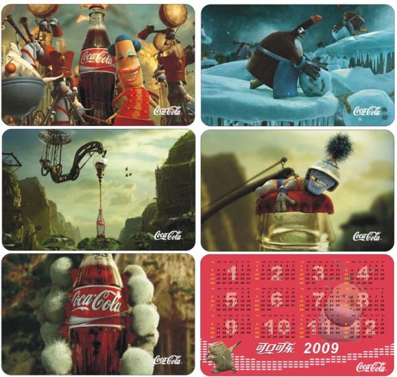 2009 COCA COLA COKE HAPPINESS FACTORY 5 CALENDAR CARDS