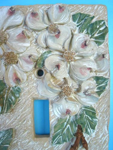 NEW Dogwood Flowers Light SWITCH PLATE Cover Double 3D