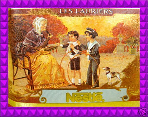 Nestle LES LAURIERS Octagon Collectible TIN Metal Canister Vintage Inspired FAB