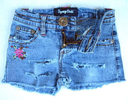 Girls DESTROYED Denim Mini SHORTS Jeans 7 M Stretch Cotton Spandex Blue Squeeze
