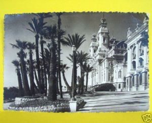 MONTE CARLO Monaco CASINO Vintage POSTCARD w STAMP 1948 Le et les Terasse Photo