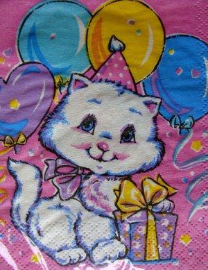 SEALED Birthday Blue Eyed CAT Kitten Paper NAPKINS Collectible Serviettes Drink