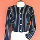 Women Designer Petite Nautical Blazer Jacket 6P 6 S Navy Pin Stripe Shoulder Pad
