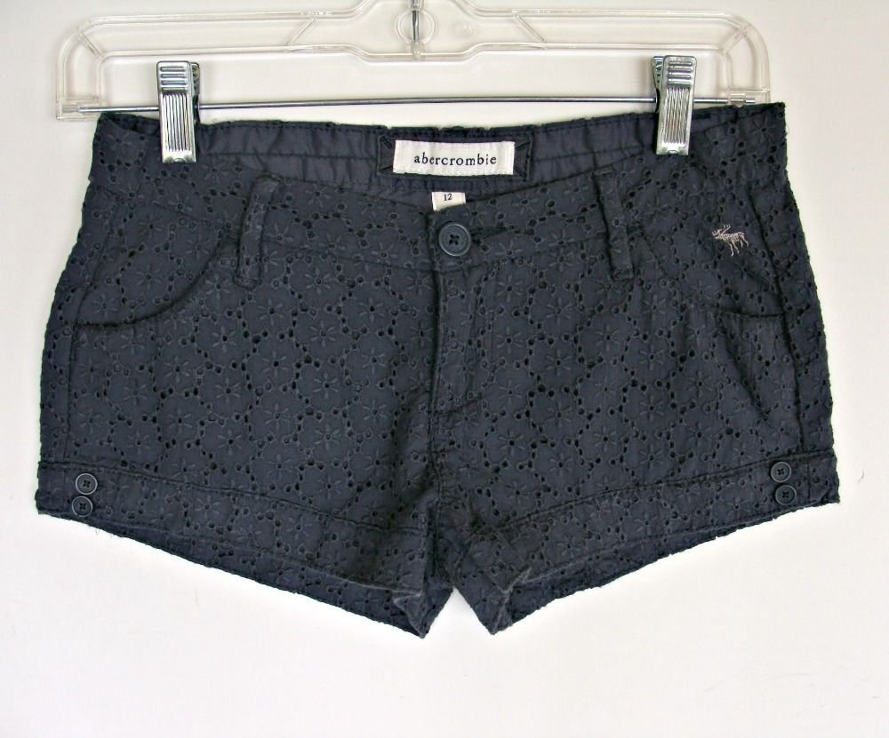 Girls Abercrombie Lace Shorts 12 Gray Low Rise High Cut Fashion Moose Eyelet Sun