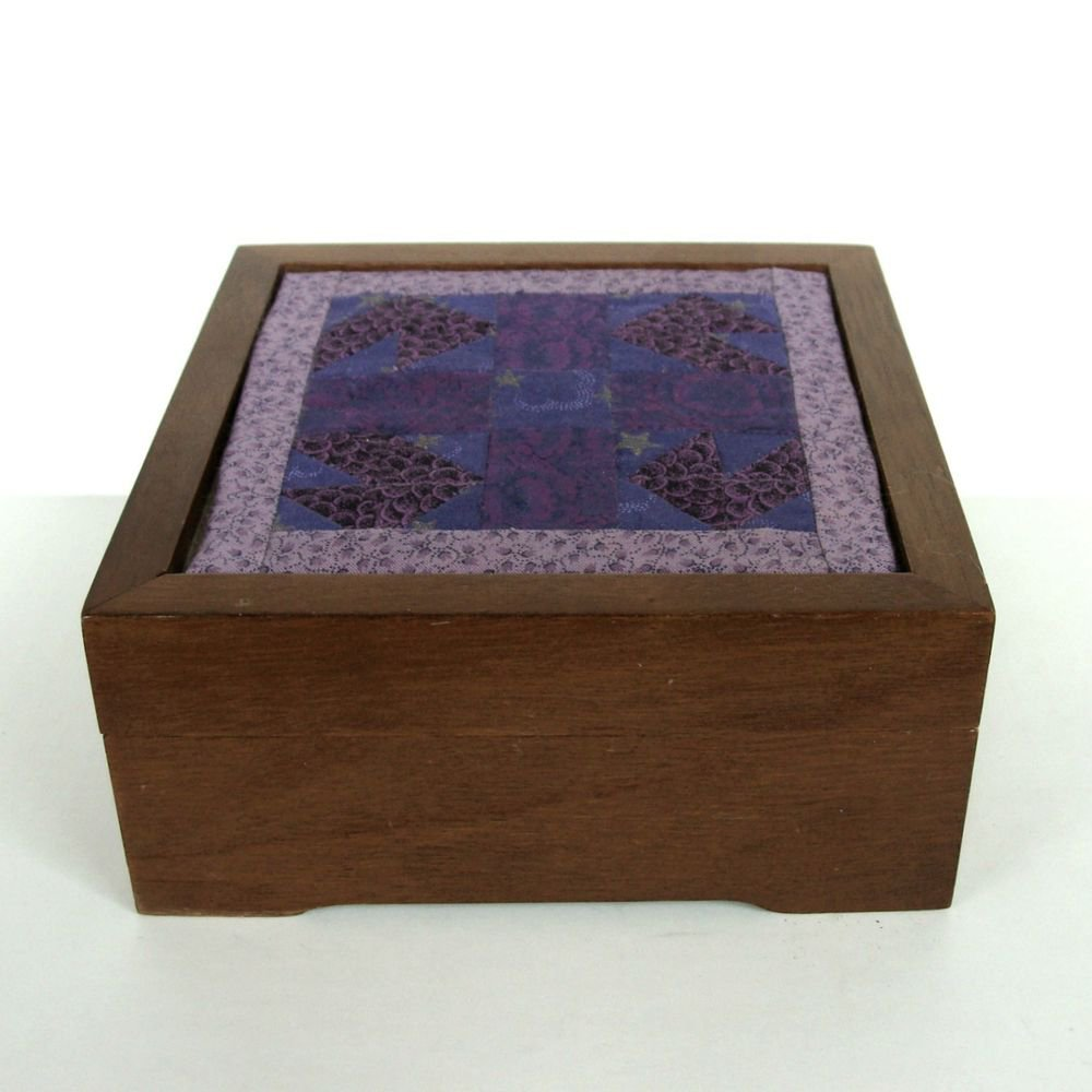 Vintage Wood Wooden Jewelry Keepsake Quilt Hinged Box Hardwood Old Treasure vtg