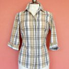 Womens European Style Plaid Blouse Shirt Size 38 8 S Small ¾ Sleeves Button Down