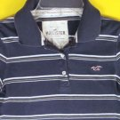 Striped HOLLISTER California Polo SHIRT Junior M 7 8 TOP Medium Trendy Navy Knit