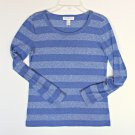 Forever 21 Striped Thin Knit Top S 4 6 8 Classic Layering Blue Long Sleeve Shirt