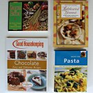 Lot of 4 Cook Books Cookbooks Pasta Healthy Dinners Chocolate Desserts Recipe