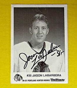 1996-97 Jason LaBarbera Autograph Signed Photo Portland WinterHawks NHL WHL