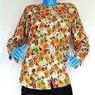Vintage Women Designer Rayon Blouse Shirt Top S 6 8 10 Shoulder Pads Floral