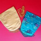 Pair Vintage Oriental Asian Kimono Cloth Drawstring Bags Pouches Beaded Fringed