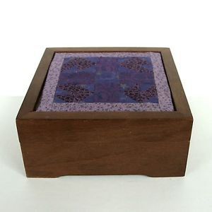Vintage Solid Dark Oak Wood Box Small Keepsake Trinket Jewelry Storage Quilt