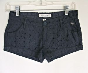 Abercrombie Gray Eyelet Lace Shorts Girls 12 Summer Coachella Low Rise Cotton