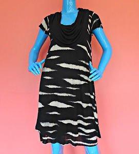 Kensie Animal Stripe Short Dress M 8 10 12 Layered Roomy A-Line Scoop Neck Work