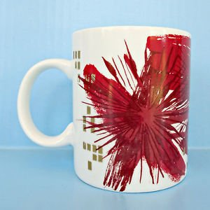 Starbucks Christmas Mug 2014 Red Gold Coffee Cup Holiday Starburst Art Canvas