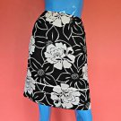 Wear To Work Silk Floral Skirt M Pencil Black White Knee Length Career Side Slit