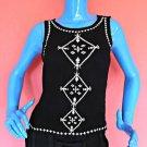 Forever 21 Black Gauze iKat Embroidered Top Blouse S 4 6 8 Sleeveless Keyhole