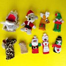 Vintage Lot Finger Puppets Starbucks Hand Made Christmas Animals Pretend Play