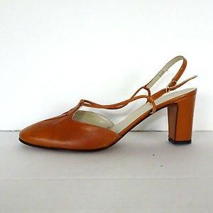 Vintage 80�s Amalfi Rangoni Amber All Leather Slingback Heels Shoes Pumps 9.5 N