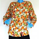 Vintage 1980's Floral Rayon Blouse Womens S 6 8 10 Shirt Top Rockabilly Hippie