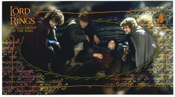 Czech Fellowship Postcard - Hobbits 2 Frodo Wounded