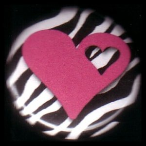 "1"" Inch Hot Pink Heart on Zebra Print Background Punk Princess Button Badge Pin - 0748"