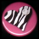 "1"" Inch Zebra Print Heart on Hot Pink Background Punk Princess Button Badge Pin - 0749"