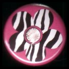 "1"" Inch Zebra Print Flower on Hot Pink Background Punk Princess Button Badge Pin - 0750"
